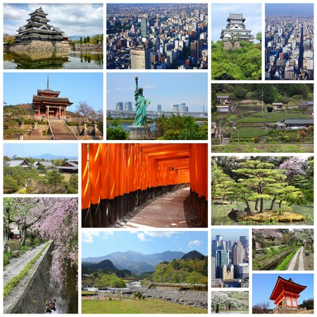 Photo collage from Japan. Collage includes major landmarks like Tokyo, Kyoto, Nagoya, Osaka, Matsumoto, Inuyama, Hirosaki and Nikko. photo