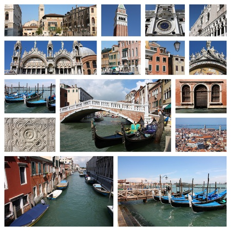 Photo collage from Venice, Italy. Collage includes major landmarks like the basilica, gondolas in canals and the campanile. photo