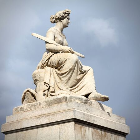 carrousel: Paris, France - Seine Statue (Louis Petitot) on Pont du Carrousel (Carrousel Bridge). Square composition. Stock Photo