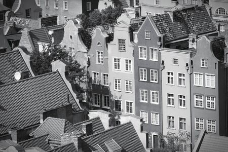Poland - Gdansk city (also know nas Danzig) in Pomerania region. Old town aerial view. Black and white tone - retro monochrome color style.