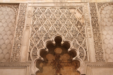 sephardi: Cordoba, Spain. Intricate artwork of historic Synagogue. Jewish Quarter.