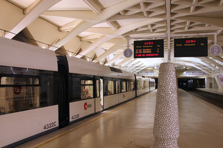 VALENCIA, SPAIN - OCTOBER 8, 2010: Metro train in Valencia, Spain. With 175km total network length, Metrovalencia is 15th longest subway system worldwide.