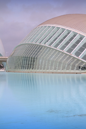 VALENCIA, SPAIN - OCTOBER 9, 2010: Exterior view of City of Arts and Sciences in Valencia, Spain. Opened in 1998, it was designed by Santiago Calatrava and Felix Candela.