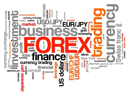 forex trading: Forex - foreign exchange currency trading word cloud illustration. Tag cloud keyword concept. Stock Photo