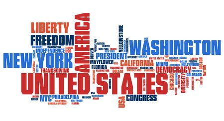 to keyword: United States word cloud illustration. Tag cloud keyword concept. Stock Photo