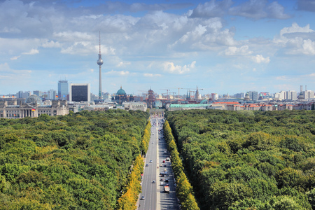 city park skyline: Berlin, Germany. Capital city architecture aerial view with Tiergarten park and the TV tower. Stock Photo