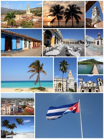 collage travel: Cuba photos collage - travel memories photo collection. Images of Havana, Trinidad, Santa Clara, Baracoa and Caribbean beaches.