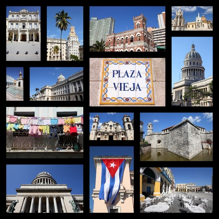 capitolio: Havana, Cuba photos collage - travel memories photo collection. Images of Capitolio, the cathedral and colonial architecture.