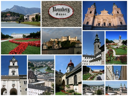 collage travel: Salzburg, Austria city photos collage - travel memories photo collection. Images of the cathedral, Hohensalzburg fortress and Old Town views. Stock Photo