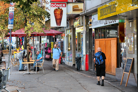 reeperbahn: HAMBURG, GERMANY - AUGUST 28, 2014: People visit Reeperbahn in Hamburg. Reeperbahn area is Hamburgs famous red light district and entertainment area. Editorial