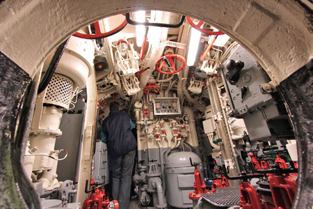 LABOE, GERMANY - AUGUST 30, 2014: People visit German submarine U-995 (museum ship) in Laboe. It is the only surviving Type VII submarine in the world. It was launched in 1943. Editorial
