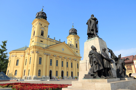 Debrecen, Hungary. Town in Hajdu-Bihar county. Great Reformed Church.