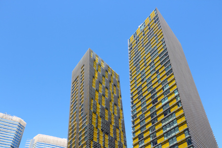 veer: LAS VEGAS, USA - APRIL 14, 2014: Veer Towers in CityCentre in Las Vegas. The complex was completed in 2010 and was designed by Murphy-Jahn Architects. Editorial
