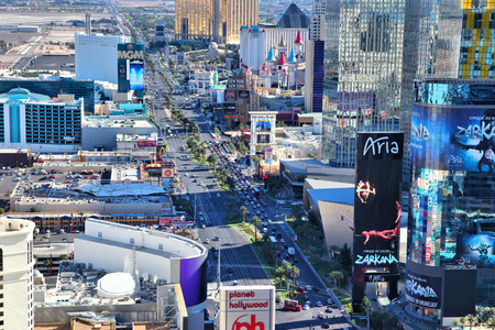 daytime: LAS VEGAS, USA - APRIL 14, 2014: Aerial view of The Strip in Las Vegas. Among 25 largest hotels in the world, 15 are located on Las Vegas Strip. Editorial