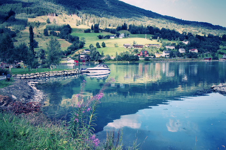 olden: Fishing harbor of Sogn of Fjordane county in Nordfjord, Olden, Norway Stock Photo
