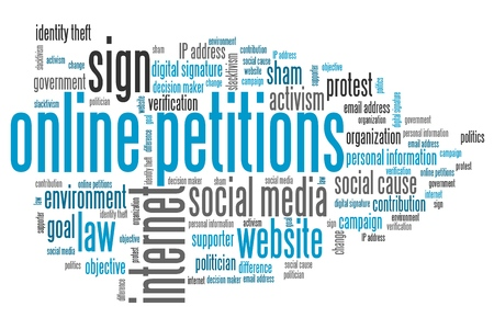 petitions: Online petitions issues and concepts word cloud illustration. Word collage concept. Stock Photo