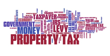 irs: Property tax - finance issues and concepts tag cloud illustration. Word cloud collage concept.
