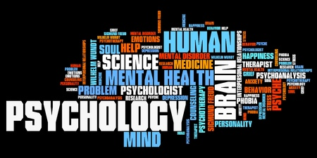 Psychology issues and concepts word cloud illustration. Word collage concept. illustration