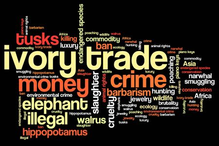 environmental issues: Ivory trade - environmental crime issues and concepts word cloud illustration. Word collage concept.