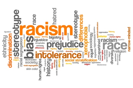 Racism - social issues and concepts word cloud illustration. Word collage concept. illustration