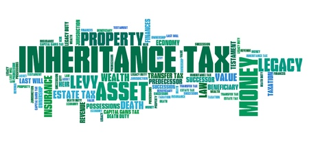 Inheritance tax - personal finance issues and concepts tag cloud illustration. Word cloud collage concept. illustration