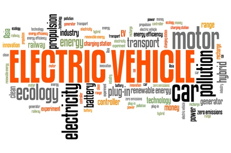 Electric vehicle - transportation issues and concepts tag cloud illustration. Word cloud collage concept. illustration
