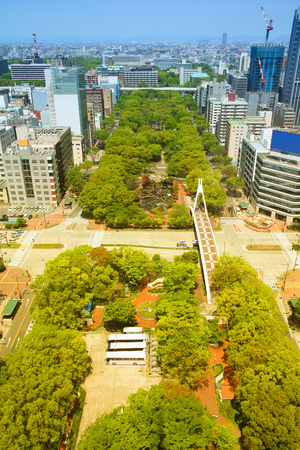 chubu: Nagoya, Japan - city in the region of Chubu in Aichi prefecture. Aerial view with Central Park. Retro tone color effect - filtered colors style. Stock Photo