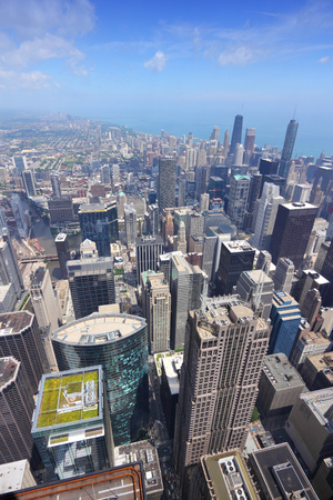 Chicago, Illinois (USA). City architecture aerial view with Lake Michigan. photo