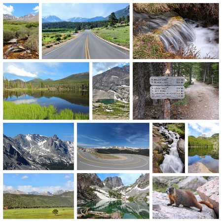 rocky mountain national park: United States - Rocky Mountain National Park photo collage. Colorado scenic views. Editorial