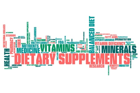 malnutrition: Dietary supplements concepts word cloud illustration.