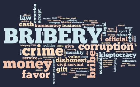 bribery: Bribery - corruption issues and concepts tag cloud illustration. Word cloud collage concept.