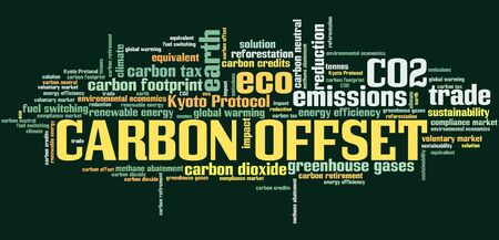 environmental issues: Carbon offset - international environmental issues and concepts tag cloud illustration. Word cloud collage concept.