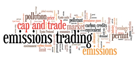 environmental issues: Emissions trading - international environmental issues and concepts tag cloud illustration. Word cloud collage concept. Stock Photo