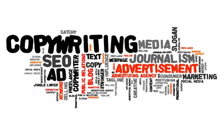 business words: Copywriting - marketing industry issues and concepts tag cloud illustration. Word cloud collage concept.