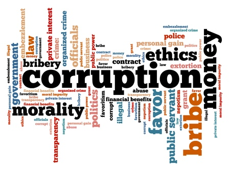 Corruption crime issues and concepts tag cloud illustration. Word cloud collage concept. Stock Photo