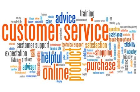 servicio al cliente: Cuestiones de marketing de servicio al cliente y conceptos ilustraci�n nube de etiquetas. Palabra collage concepto nube.