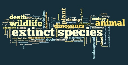 brink: Extinct species - environment issues and concepts word cloud illustration. Word collage concept.