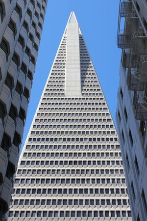 transamerica: SAN FRANCISCO, USA - APRIL 9, 2014: Transamerica Pyramid skyscraper in San Francisco, USA. It is the tallest building in San Francisco with height of 853 ft (260 m).