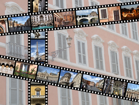 35 mm: Film strips with travel photos. Rome, Italy, Europe.