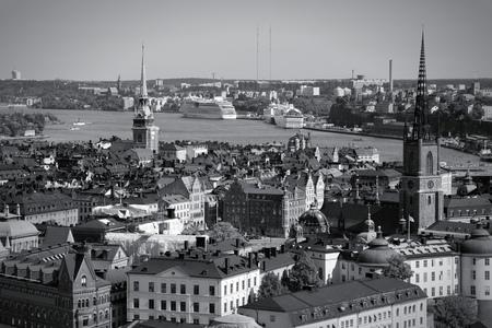 Stockholm, Sweden. View of famous Gamla Stan (the Old Town), Stadsholmen island. Black and white tone - retro monochrome style. photo