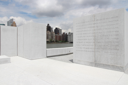 NEW YORK, USA - JULY 3, 2013: Franklin D. Roosevelt Four Freedoms Park in New York. It was created in 2012.