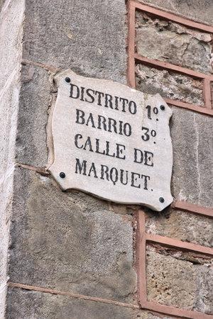 street name sign: Barcelona street name sign - Calle de Marquet.