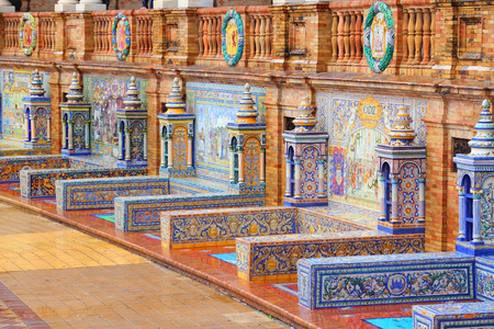 Plaza de Espana, Sevilla, Spain - famous old decorative ceramics alcoves.