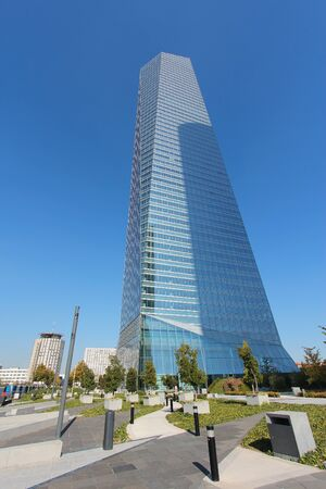 MADRID, SPAIN - OCTOBER 23, 2012: Torre de Cristal skyscraper in Madrid. Torre de Cristal is the 2nd tallest building in Spain (as of 2013), it is 249m tall. Editorial