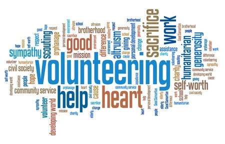 volunteering: Volunteering issues and concepts word cloud illustration. Word collage concept. Stock Photo