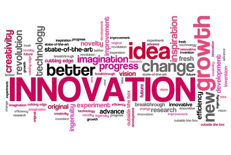 technology collage: Innovation - modern technology issues and concepts word cloud illustration. Word collage concept.