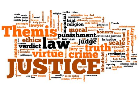 themis: Justice - legal issues and concepts word cloud illustration. Word collage concept. Stock Photo