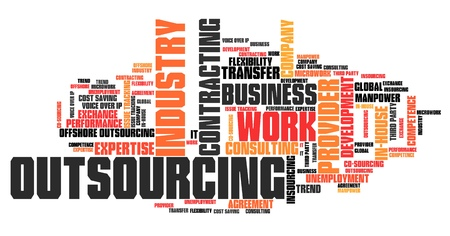 contracting: Outsourcing - human resources issues and concepts word cloud illustration. Word collage concept. Stock Photo