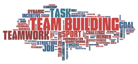 Teambuilding - company teamwork issues and concepts word cloud illustration. Word collage concept.