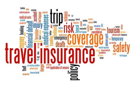 accident rate: Temas de seguros de viajes y conceptos ilustraci�n nube de palabras. Collage concepto Palabra.